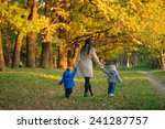 mother with children twins on a ... | Shutterstock . vector #241287757
