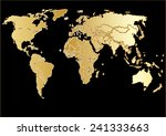drawings vector world map gold... | Shutterstock .eps vector #241333663