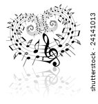 valentine music theme   notes... | Shutterstock .eps vector #24141013