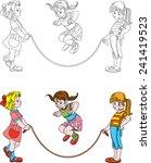 girls jumping skipping rope | Shutterstock .eps vector #241419523