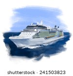 cruise ship hand drawn colorful ... | Shutterstock . vector #241503823