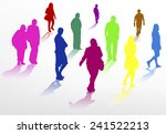 people walking silhouettes | Shutterstock .eps vector #241522213