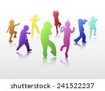 dancing children silhouettes | Shutterstock .eps vector #241522237