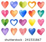 Vector Watercolor Hearts ...