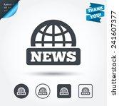 news sign icon. world globe...
