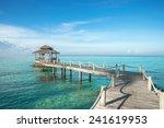 tropical hut and wooden bridge... | Shutterstock . vector #241619953