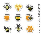 bee and honey vector icons set | Shutterstock .eps vector #241663597