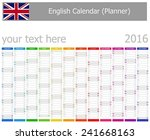 2016 english planner calendar... | Shutterstock .eps vector #241668163