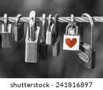 Padlocks With Heart Shape On...