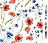 Poppy  Cornflower  Watercolor ...