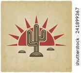 desert cactus at sunset old... | Shutterstock .eps vector #241899367