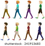 faceless men in walking pose | Shutterstock .eps vector #241913683