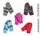 set of knitted wool mittens and ... | Shutterstock . vector #241928533