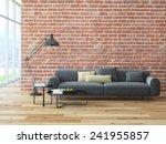 Loft Interior With Brick Wall...