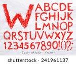 Alphabet Set Drawn Pastel Blot...