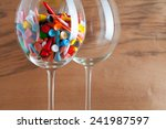 two glasses of wine and golf...   Shutterstock . vector #241987597