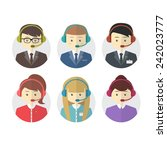 Call Center Operator Icons Wit...
