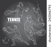 illustration of tennis. hand... | Shutterstock .eps vector #242046793