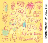 summer vacation holiday icons... | Shutterstock .eps vector #242069113