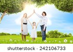 happy family of three dreaming... | Shutterstock . vector #242106733