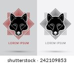 black wolf  fox   head  face  ... | Shutterstock .eps vector #242109853