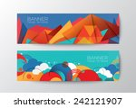 Abstract colorful polygon cloud banner design vector template   Shutterstock vector #242121907