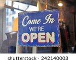 hanging vintage open sign | Shutterstock . vector #242140003