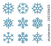 set of nine snowflakes thin... | Shutterstock .eps vector #242150623