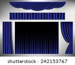 set of navy blue curtain ... | Shutterstock .eps vector #242153767