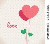 romantic love heart on dot... | Shutterstock .eps vector #242153803