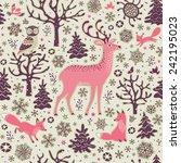 winter forest background.... | Shutterstock .eps vector #242195023