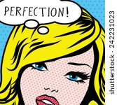 pop art woman perfection  sign.