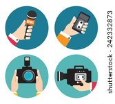 set of icons with hands holding ... | Shutterstock .eps vector #242332873