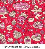 seamless cartoon vector pattern ... | Shutterstock .eps vector #242335063