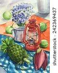 still life watercolor painting  | Shutterstock . vector #242369437