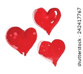 watercolor red hearts for... | Shutterstock .eps vector #242417767