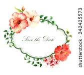 frame  card  hibiscus  flower ... | Shutterstock .eps vector #242425573