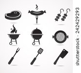 barbecue icon set. vector... | Shutterstock .eps vector #242429293