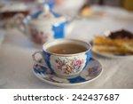 tea in vintage russian tea set...   Shutterstock . vector #242437687