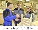 group of students in woodwork... | Shutterstock . vector #242442367