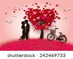 Stock vector concept of valentine day two enamored under a love tree in the spring season paper art and craft 242469733
