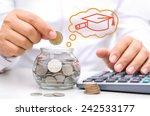 businessman hand putting money... | Shutterstock . vector #242533177
