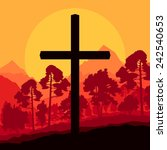 cross and nature landscape... | Shutterstock .eps vector #242540653
