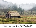 Old Wooden Barn In Field ...