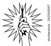 hand holding up pen eps 10... | Shutterstock .eps vector #242543047