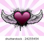 heart with wings and grunge...