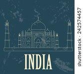 india landmarks. retro styled... | Shutterstock .eps vector #242574457