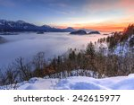 view over the fog covered bled... | Shutterstock . vector #242615977
