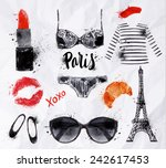 Set Paris With Various Symbols...