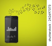 smartphone with music notes... | Shutterstock .eps vector #242697373